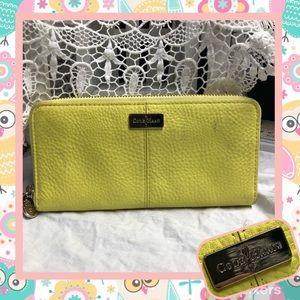 Cole Haan Yellow Leather Zip Around Wallet